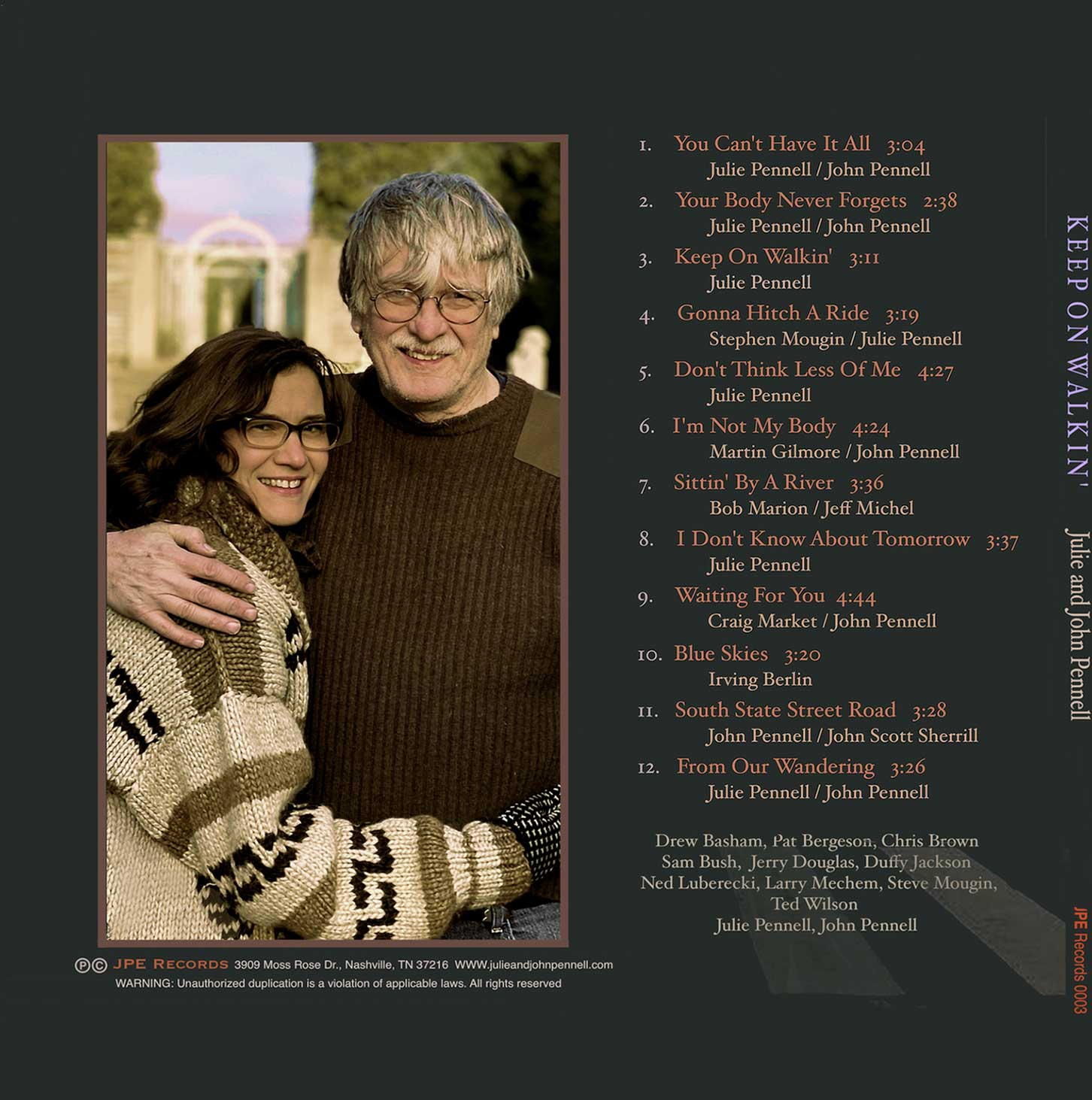 Song list for Keep on Walkin by Julie and John Pennell